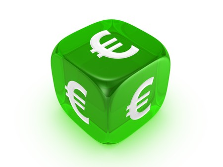 one translucent green dice with euro sign isolated on white background Stock Photo