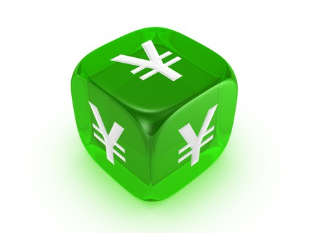 investmen: one translucent green dice with yen sign isolated on white background