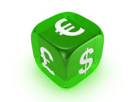 one translucent green dice with dollar euro pound sign isolated on white background
