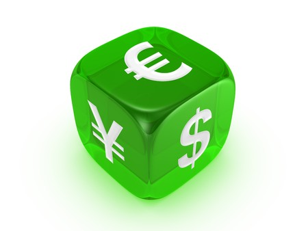 investmen: one translucent green dice with dollar euro yen sign isolated on white background Stock Photo