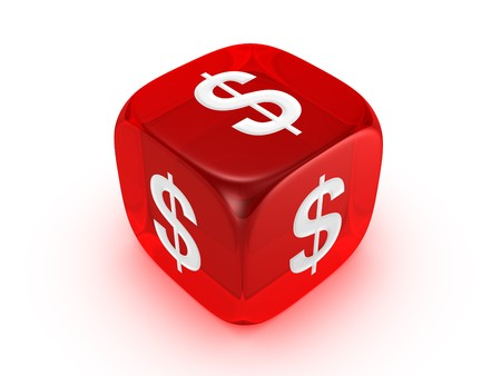 investmen: one translucent red dice with dollar sign isolated on white background