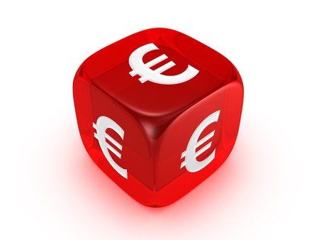 one translucent red dice with euro sign isolated on white background Archivio Fotografico