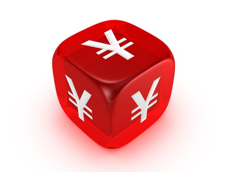 one translucent red dice with yen sign isolated on white background Stock Photo