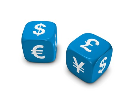 pair of blue dice with dollar euro yen pound sign isolated on white background