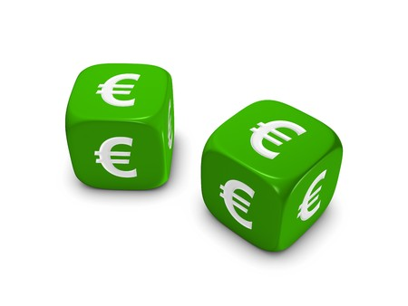 pair of green dice with euro sign isolated on white background Stock Photo