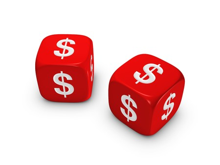 pair of red dice with dollar sign isolated on white background Stock Photo