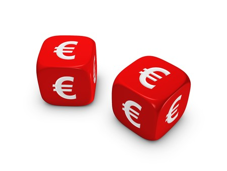 pair of red dice with euro sign isolated on white background