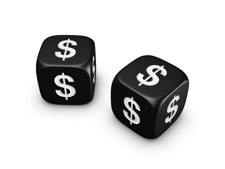 economic issues: pair of black dice with dollar sign isolated on white background