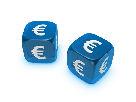 pair of translucent blue dice with euro sign isolated on white background