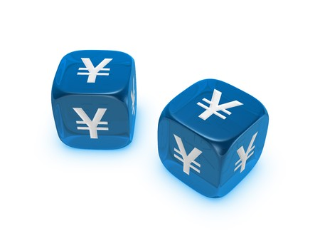 pair of translucent blue dice with yen sign isolated on white background