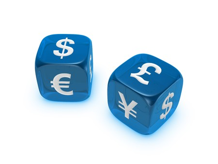 pair of translucent blue dice with dollar euro yen pound sign isolated on white background Archivio Fotografico