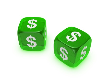economic issues: pair of translucent green dice with dollar sign isolated on white background
