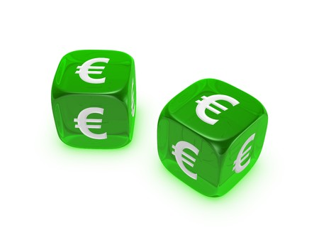 investmen: pair of translucent green dice with euro sign isolated on white background
