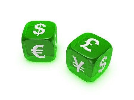 pair of translucent green dice with dollar euro yen pound sign isolated on white background