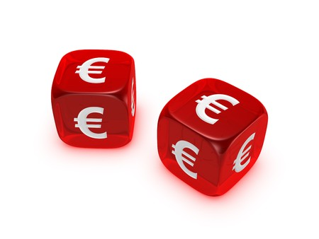 pair of translucent red dice with euro sign isolated on white background