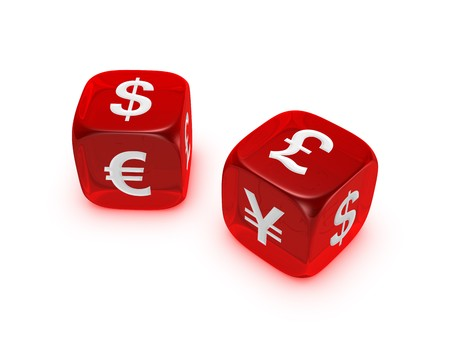 pair of translucent red dice with dollar euro yen pound sign isolated on white background Stock Photo