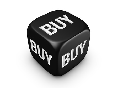 one black dice with buy sign isolated on white background