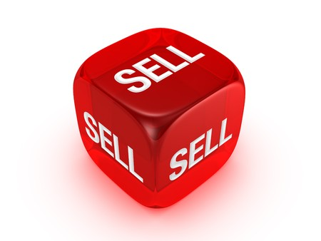 wallstreet: one translucent red dice with sell sign isolated on white background Stock Photo