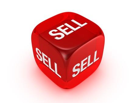 Uno rosso traslucido con dadi vendere segno isolato su sfondo bianco Archivio Fotografico - 4472180