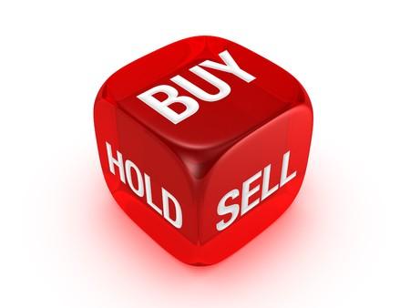 actividad econ�mica: un dados rojo trasl�cido con comprar, vender, mantenga el signo aislado sobre fondo blanco