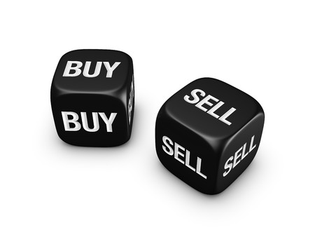 investmen: pair of black dice with buy, sell sign isolated on white background