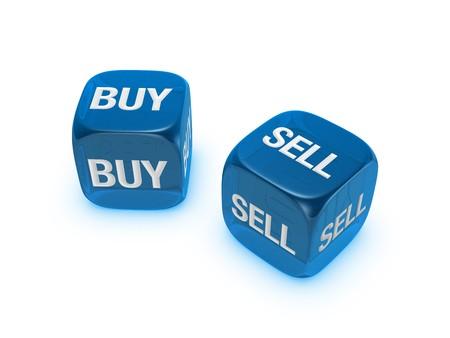 Coppia di dadi traslucida blu con comprare, vendere segno isolato su sfondo bianco Archivio Fotografico - 4472174