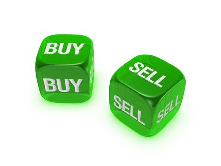 Coppia di dadi con verde traslucido comprare, vendere segno isolato su sfondo bianco Archivio Fotografico - 4472179