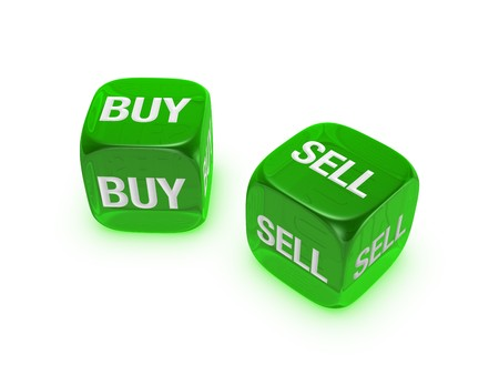 pair of translucent green dice with buy, sell sign isolated on white background Stock Photo - 4472179