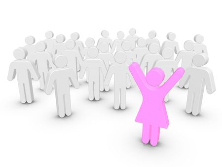 Colored People Stand Out From The Crowd Isolated On White Background