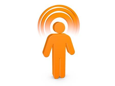 Orange Spiritual Man with visible color Aura Stock Photo