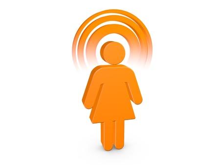 Orange Spiritual Girl with visible color Aura