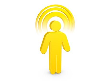 Yellow Spiritual Man with visible color Aura Stock Photo
