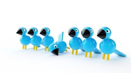 disharmony: blue birds on white background Stock Photo