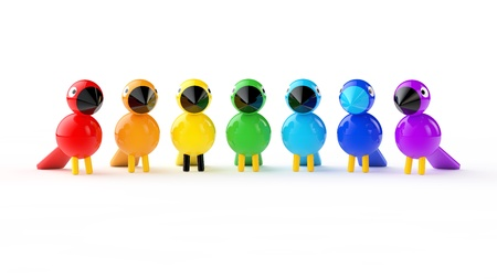 Arcobaleno uccelli colorati su sfondo bianco Archivio Fotografico - 21937376