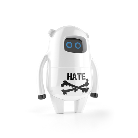 white cute plastic robot with hate sign