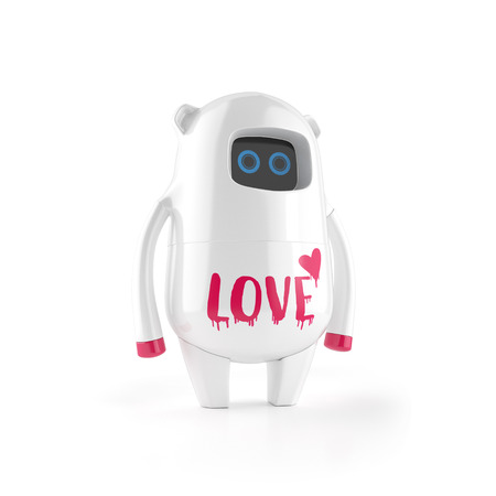 white cute plastic robot with love sign