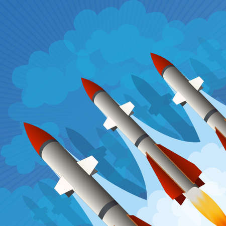 missile weapons rocket placard Vector