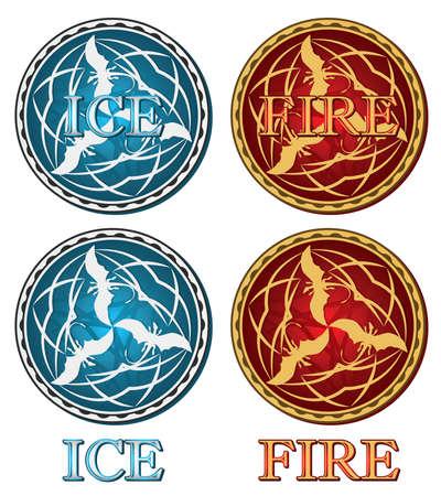 fire and ice: middeleeuwse vuur en ijs draken medaillon