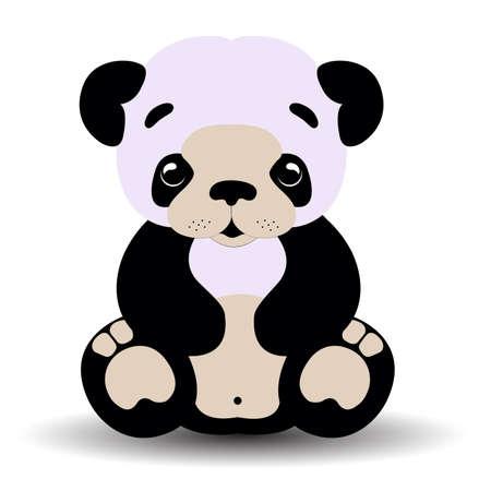 panda bear baby black and white Vector
