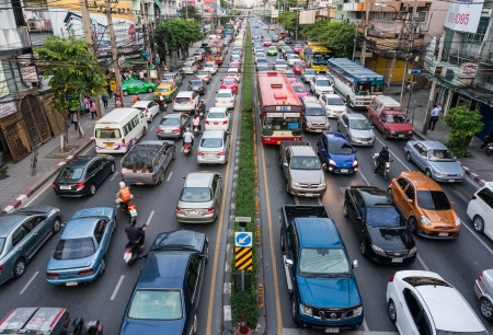 Traffic jam along a busy road in rush hour at ladprao Road, Bangkok
