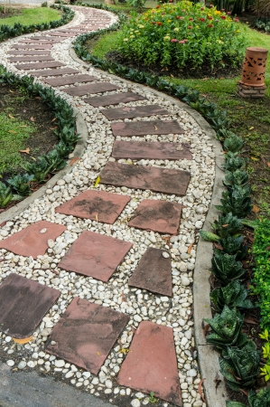 Stone pathway in the garden  Stock Photo photo