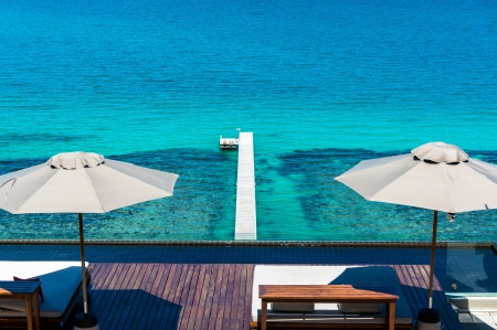 daybed: daybed on the beach with blue sea, Koh Samui, Thailand