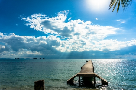 blue sea and blue sky, Koh Samui, Thailand photo