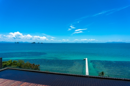 blue sea and blue sky, Koh Samui, Thailand Stock Photo