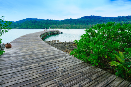 Seascape view of wood port with boat,Koh Kood, Thailand photo