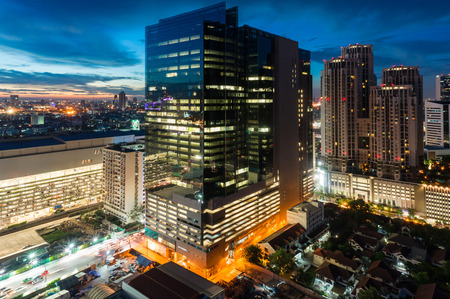 Bangkok city night view in Thailand photo