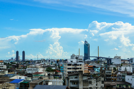warren: high density residence bangkok with blue sky background, close up warren area