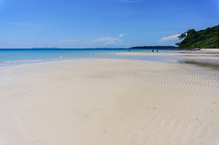 sand beach of Koh Kood with blue sky background, Thailand sea photo