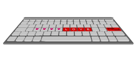 Love label on modern keyboard computer, raster photo