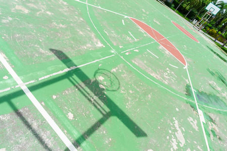 shadow of basketball board reflect on basketball courts